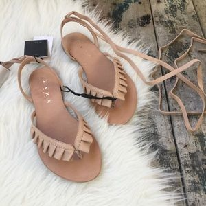 🔴SALE🔴ZARA LEATHER LACE UP SANDALS NWT SZ 5.5
